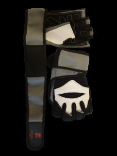 Fitnesshandschuh mit Handballenauflage, grau / schwarz und weiß