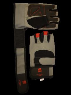 Fitnesshandschuh mit Handballenauflage, grau / schwarz / rot