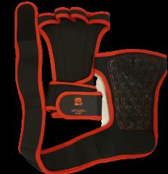 Griffe zum Gewichtheben mit Handballenauflage schwarz / rot